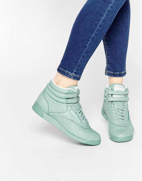 Reebok | Reebok Freestyle Hi Spirit Mint Green Trainers at ASOS