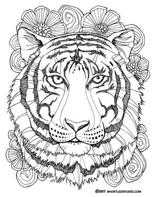 Tiger With Flowers Coloring Page For Adults Mandala Coloring Pages Animal Coloring Pages Flower Coloring Pages