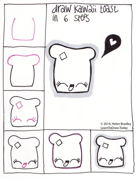 Draw kawaii toast step by step drawing step by step for How to draw cute stuff step by step