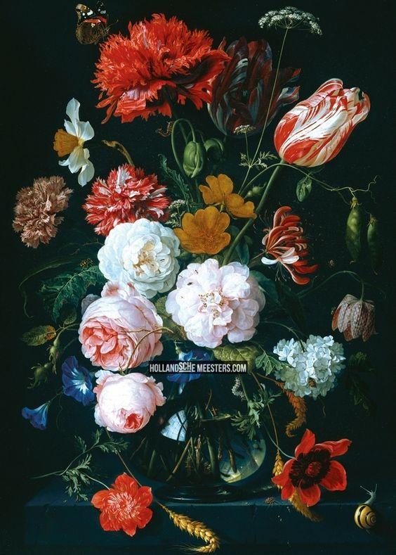 Canvasdoek | Stilleven met bloemen in een glazen vaas II | Jan Davidsz. de Heem | Canvas doeken en Art-wall behang van de schilderijen van N...