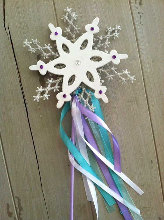 Winter princess frozen snowflake deluxe snowflake ribbon for Birthday wand