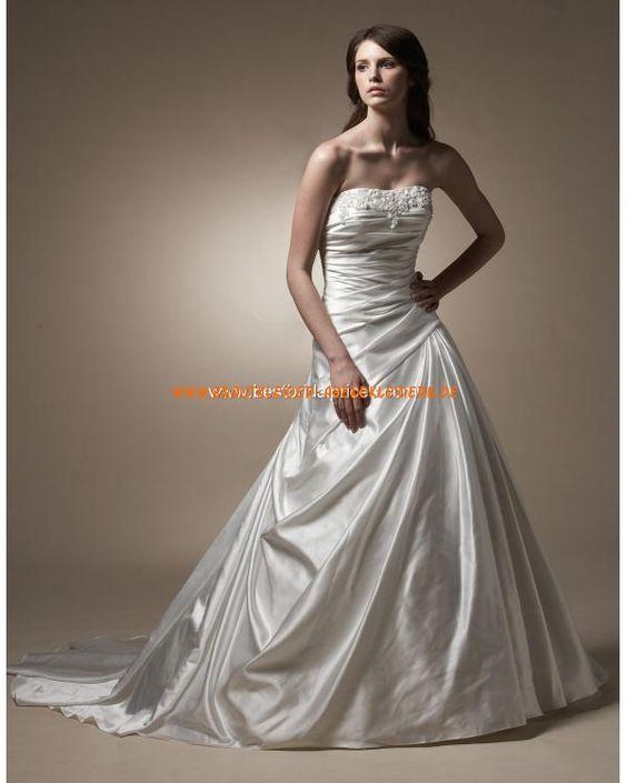 Zeitlos klassische Brautkleider aus Satin A-Linie mit Schleppe 2013