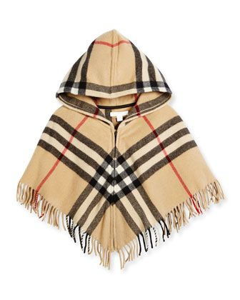 Victoria+Hooded+Check+Cape,+New+Classic,+Size+M-L+by+Burberry+at+Bergdorf+Goodman.