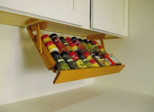 15 Sneaky Tricks To Double Your Storage Space Cabinet Spice Rack