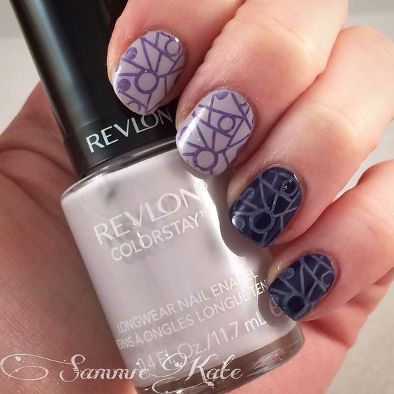 Purple two toned geometric stamping using Revlon and MUA polishes.