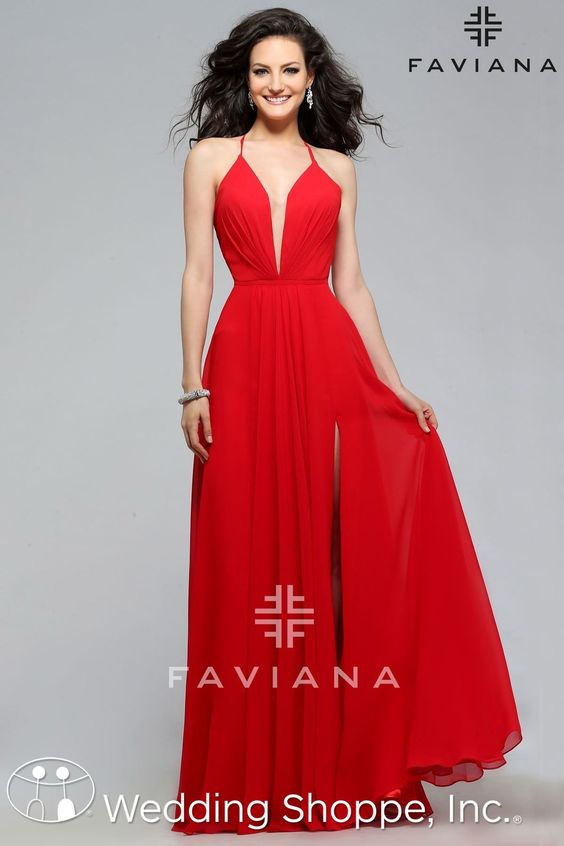 A simple red prom dress with plunging neckline. - Prom Dresses ...