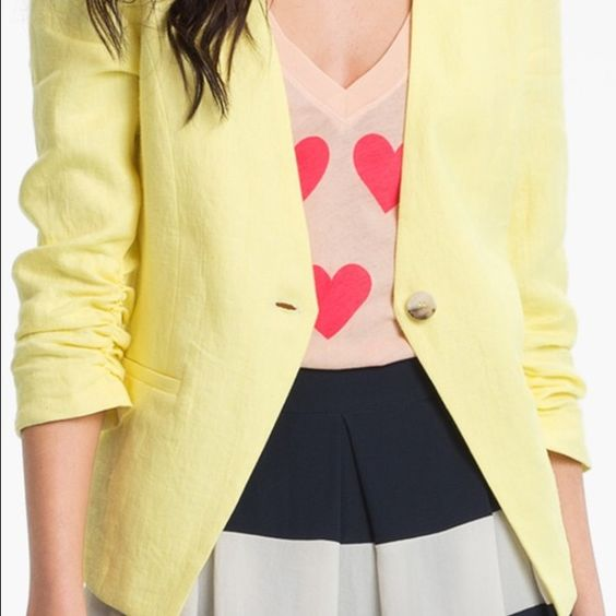 Gibson Blazer Citron Yellow size XS Just in time for spring. This color is going to be super hot this season perfect with white pants and a light blue shirt and wedges. I love it it just doesn't fit. It is brand new with tags. Gibson Jackets & Coats Blazers