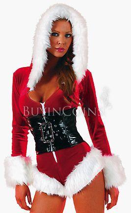Sexy Holiday Romper Short Velvet Christmas Costume Set Waist Cincher Shag Hood