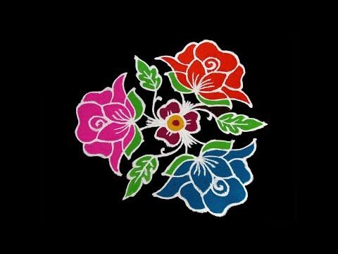 How To Draw Simple Creative And Unique Rose Flower Rangoli Designs With Colours For Festivals Youtube Flower Drawing Roses Drawing Plant Drawing