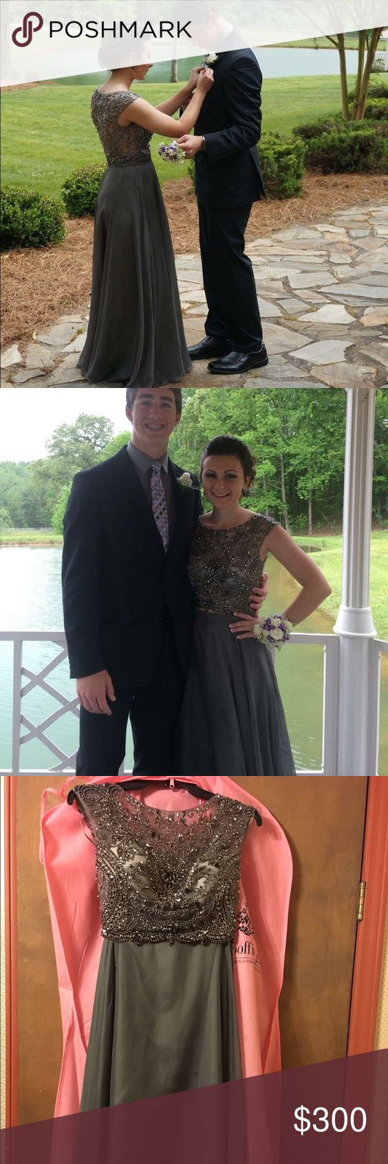 Grey twopiece prom dress
