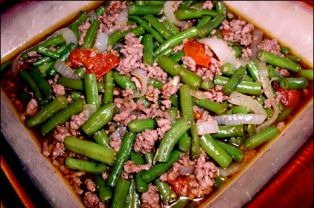 Ginisang Green Beans This Ginisang Green Beans Is A Simple Dish Consisting Of Fresh Tomato Green Beef And Green Beans Recipe Ground Pork Recipes Green Beans