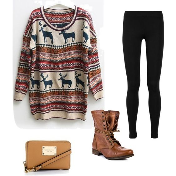 Reindeer sweater with black leggings and weathered boots.: