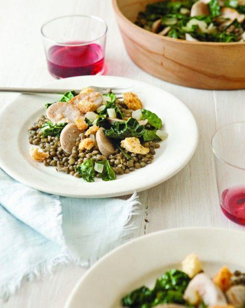 Warm Lentils with Sausage, Kale & Mustard Vinaigrette Salad Recipes