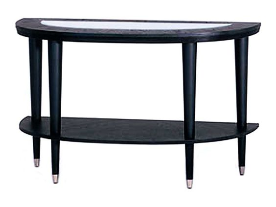 Modern half-moon sofa table with extra shelf for storage and tempered glass top to display decor. | Ontario Sofa Table cort.com