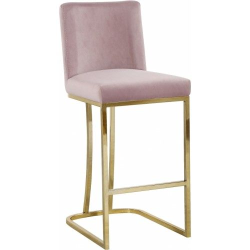Blush Pink Velvet Curved Stool Gold Base Bar Stools Velvet