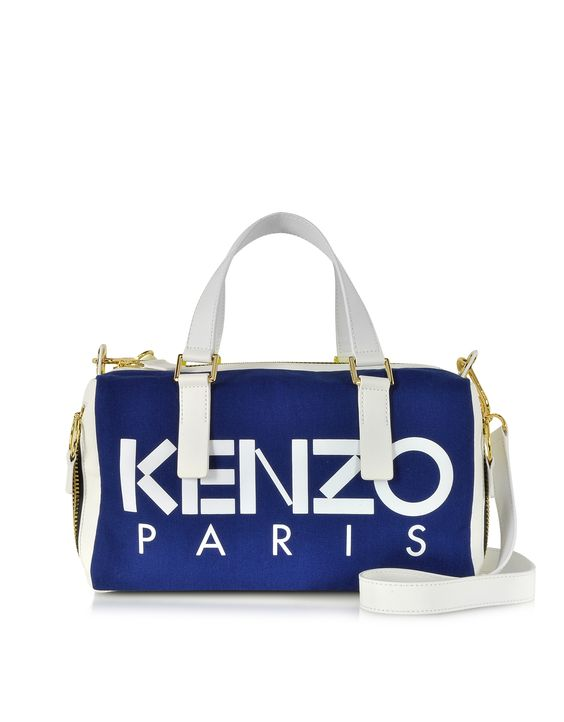 Kenzo Color Block Canvas and Leather Satchel Bag at FORZIERI