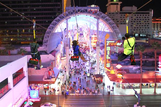 Las Vegas zipline-soar right through the Fremont Street Experience!  Two levels:  77 ft. high and 114 ft....