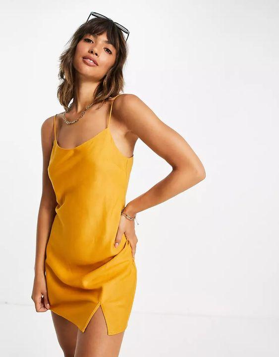 ASOS DESIGN mini slip dress in mustard