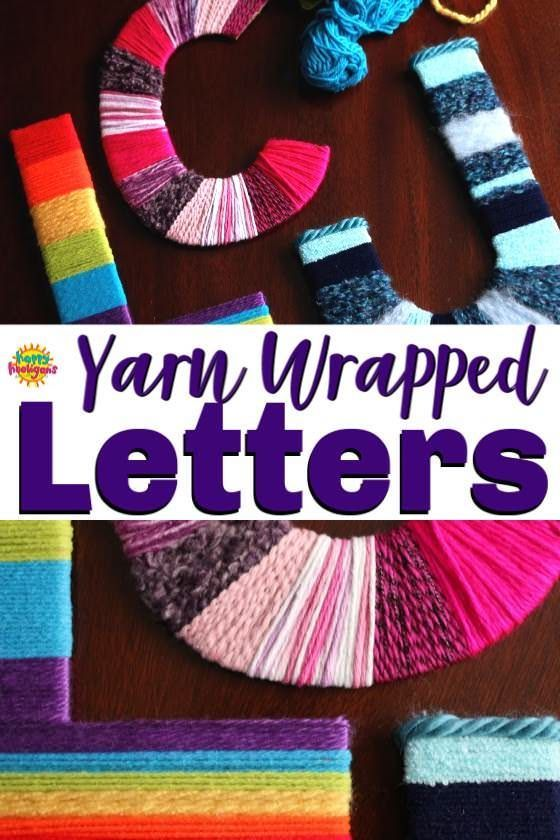 Kids can personalize their space with this fun and easy yarn letter craft. Make your initials, your name or an inspiring word to display on a wall or shelf on a bedroom. Great craft for kids of all ages. Crafty teens and tweens can make a set to give to a friend as a gift. #HappyHooligans #KbnMoms #KidsCrafts #Preschool #CraftsForTweens #CraftsForTeens #YarnCrafts #LetterCrafts #NameArt #DaycareCrafts #CraftCamp #ArtForKids