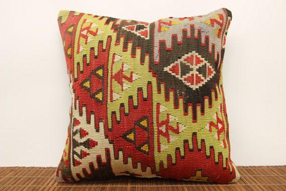 Accent kilim pillow cover 16 x 16 Ethnic Kilim by kilimwarehouse, $52.00