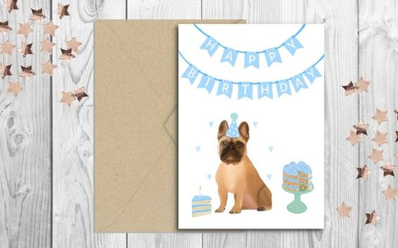 French Bulldog Fawn Happy Birthday Pastel Dog Greetings Card Personalisation Available Happy Birthday Greeting Card Happy Birthday Bulldog Happy Birthday