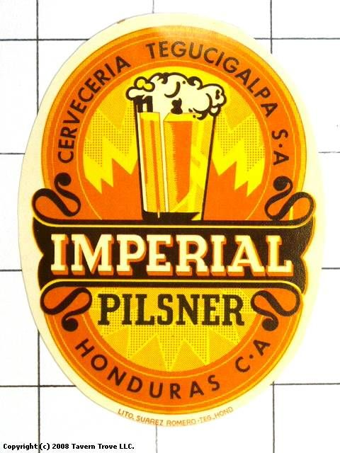 Labels Cerveza Imperial Pilsner Cerveceria Tegucigalpa S.A. Tegucigalpa Honduras