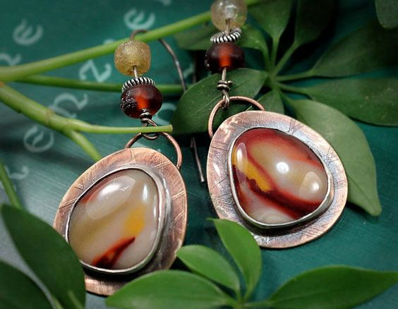 Mixed Metal Mookaite Jasper Earrings Lamp Work by madstarsilver, $43.31