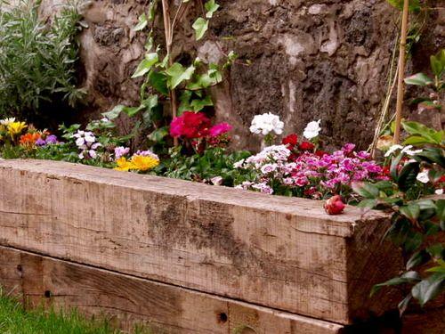 Jardinera de traviesas de tren jardin pinterest - Traviesas de tren para jardin ...