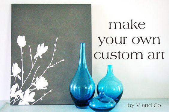 Make your own custom art with a Cricut, vinyl, canvas and spray paint. <3