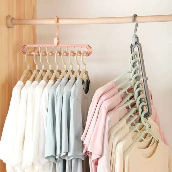 1 PC Clothes Multi Hanger Space Saving Folding Hook Rack Wardrobe Organizer | Home