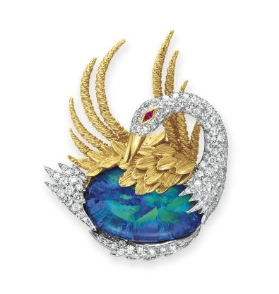 A DIAMOND, BLACK OPAL AND GOLD BROOCH, BY DAVID WEBB