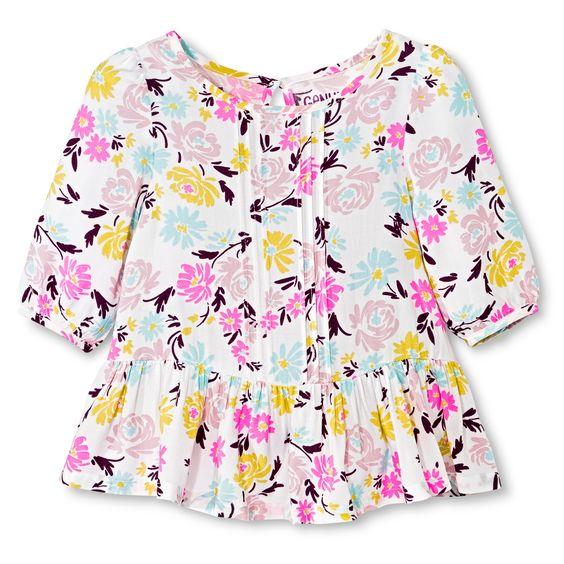 Toddler Girls' Floral Challis Tunic - Almond Cream : Target