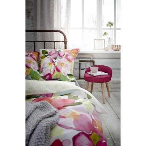 Satinwendebettwäsche, Jubiläums-Edition, Blumen/Streifen, Baumwollsatin Katalogbild