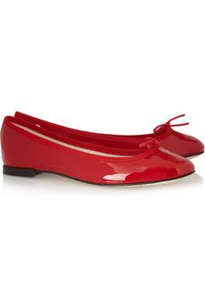 Patent Leather Repetto Flats with Grosgrain Trim