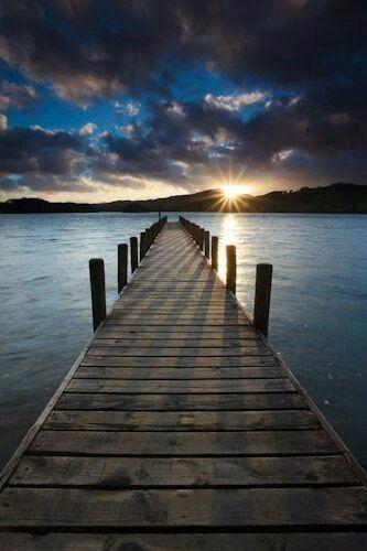 Sunrise shadows on the dock
