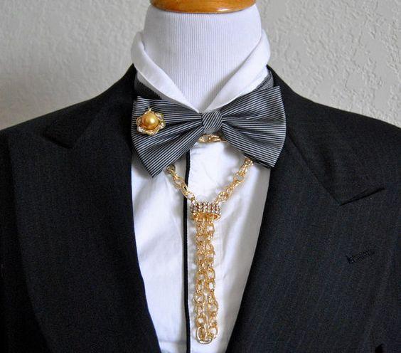 EDGY BOWTIE Upscale Groom Bow Tie Mens Necktie by EventOutlet