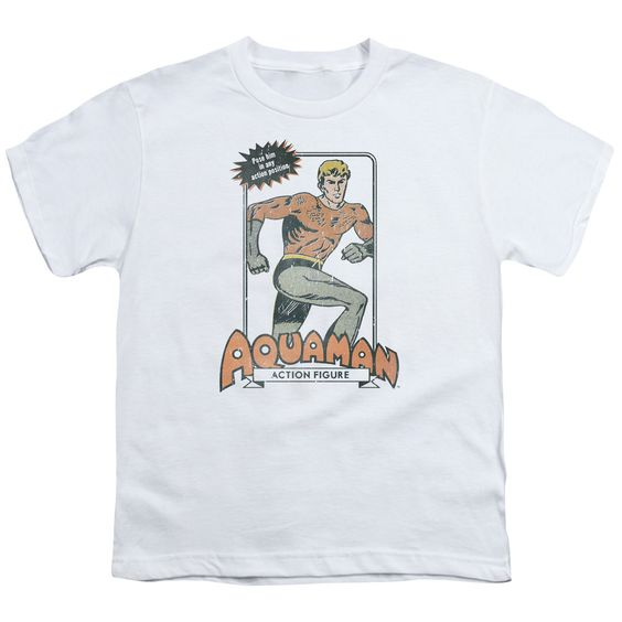 Aquaman Action Figure White Youth T-Shirt