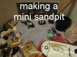 Making a mini sandpit (excavating dinosaur bones, a beach scene, buried treasures and sand/beach links)