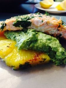 Avocado Salmon with grilled Pineapple , gluten free