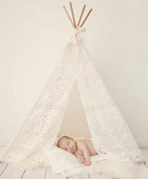 MIni Lace Tee Pee by bananajcreations: Perfect for newborn/toddler shoots. Also available in a larger size. #Tee_Pee #Babies #Lace #bananajcreations