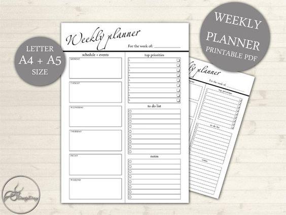 A4 A5 Weekly Planner Weekly Planner Printable Planner – Weekly Schedule Layout