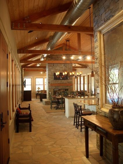 The floor plank ceiling and the fireplace on pinterest for Double sided open fireplace