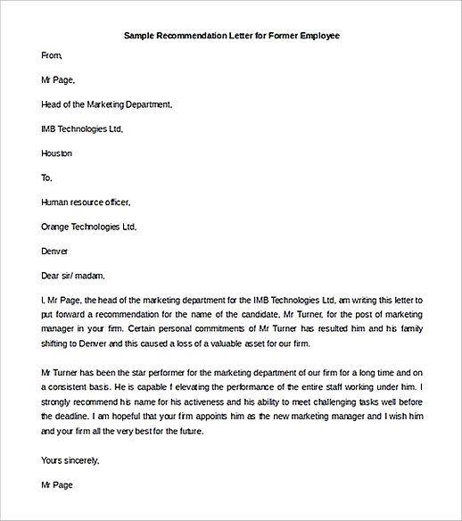 Recommendation Letter For Former Employee Templates Example Letter Of Recommendation Lettering Templates