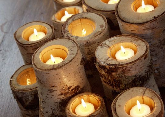 Birch Tree Candle Holders. Anyone have a spare birch tree they don't want?