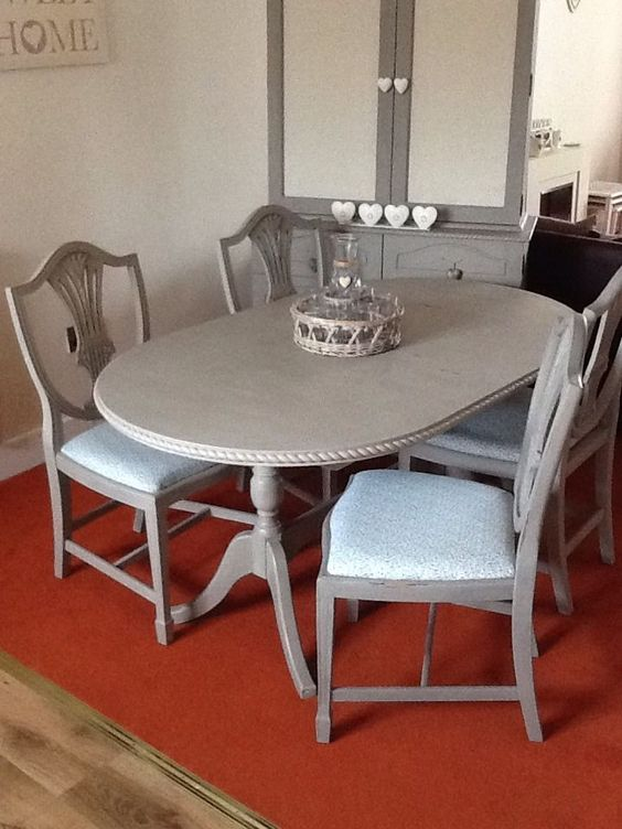 shabby chic oval kitchen dining table and 4 chairs