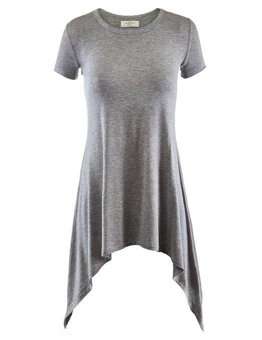 Made By Johnny Women's Short Sleeve Handkerchief Hem Tunic at Amazon Women's Clothing store: