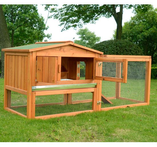 Details about pawhut wooden large chicken rabbit hutch for Awesome rabbit hutches