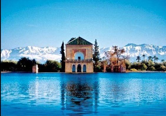 Marrakech . Morocco with Snow Clad Atlas Mountains