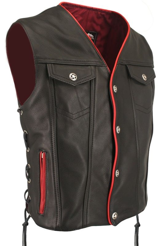 Men's Denim Style Lace Side /Red Trim Leather Vest ...
