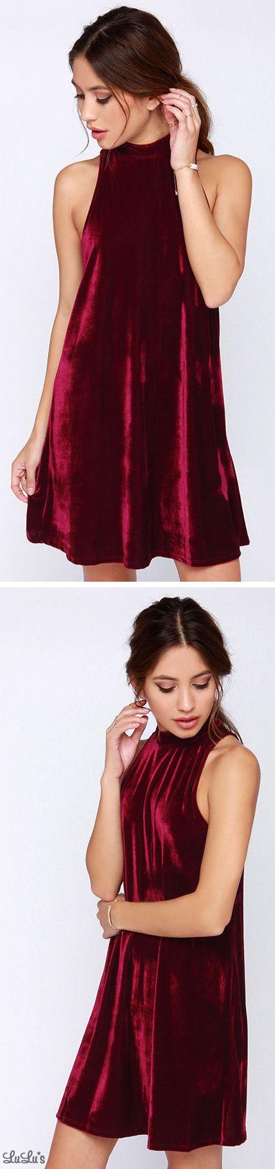 Plush One Burgundy Velvet Halter Dress: